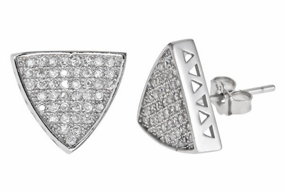 Hip Hop Triangular shaped bling bling 18k w gold layer CZ silver Mirco Pave stud earrings