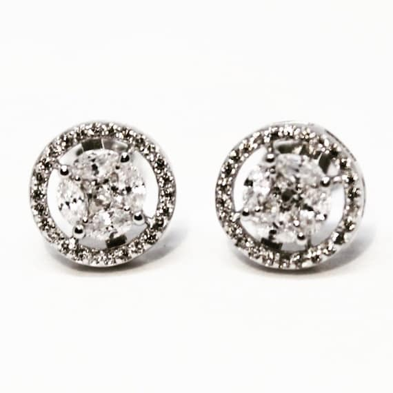 NEW 14K White Gold Layered on Sterling Silver Circle Earrings