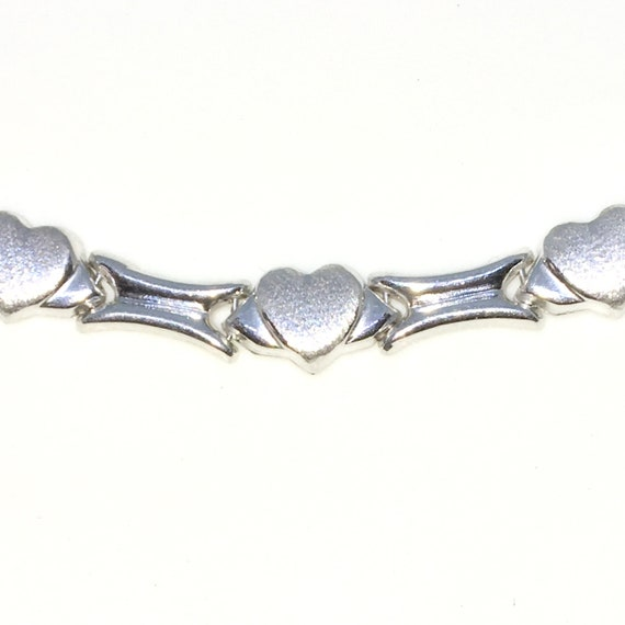 New White Gold Layered 925 Solid Sterling Silver 18 inch Rigid Heart and Bone links Necklace with lobsterclaw clasp