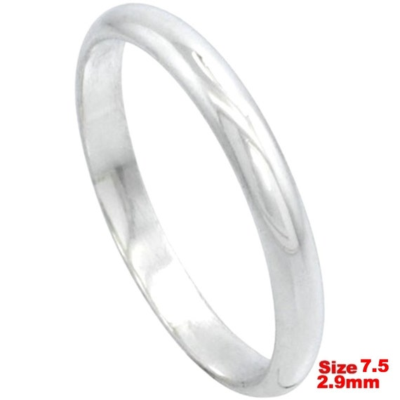 Italy 14k white gold layered on.925 silver high polished wedding band ring 2.9mm Size 7.5