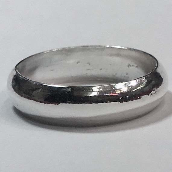 Handmade solid 990 Silver high polished glossy plain wedding Ring Band 5.8mm Size 15.5