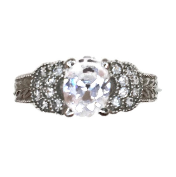 Brand New White Gold on 925 Sterling Silver Ring band Artistic design with round and Oval white CZ ( size 7 )
