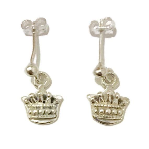 Brand New Anti-tarnish Silver Earrings dangle drop crown ( 9 . 9 mm )