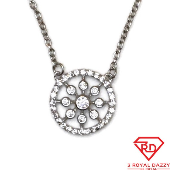 Brand New White Gold on 925 Sterling Silver Necklace 16 inch Cable chain & round CZ with Springring Clasp and 2 inch extension ( 14 . 3 mm )