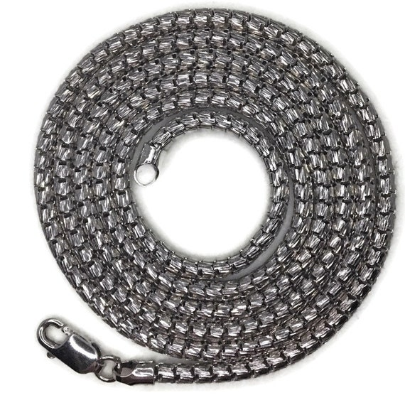White gold layer on silver necklace hollow round snake chain 24 inch
