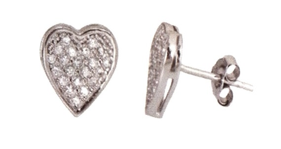 18k white gold layer large Heart Shape Love Earring .925 Sterling Silver Micro Pave