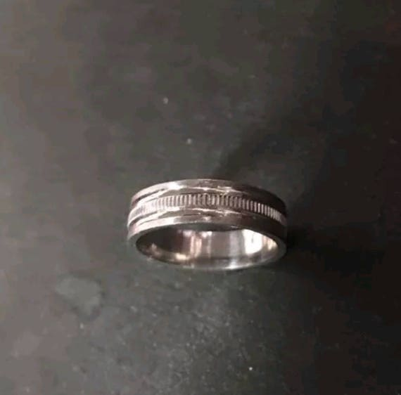 14k White Gold Layer On Sterling Silver Wedding Edged Design ring Band 5mm S8