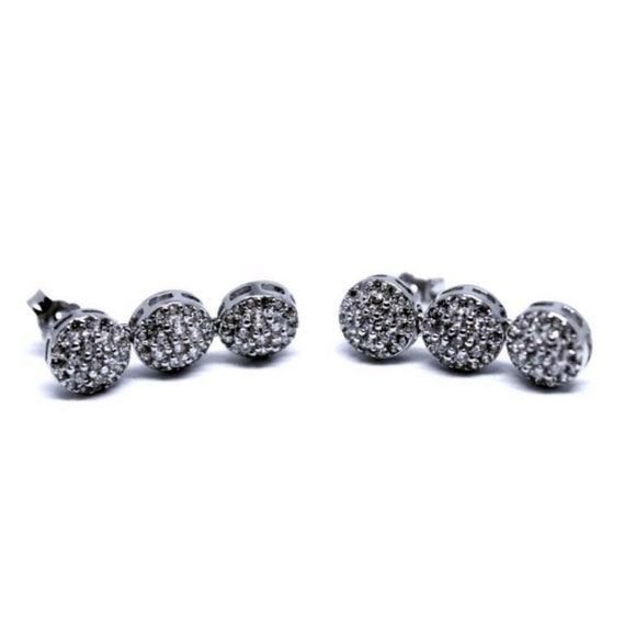 Three Circle 14k White Gold on 925 Silver Earring