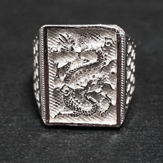 Anti Tarnished 9 2 5 Sterling Silver Zodiac Men's Dragon Ring ( Size : 9 . 2 5 )