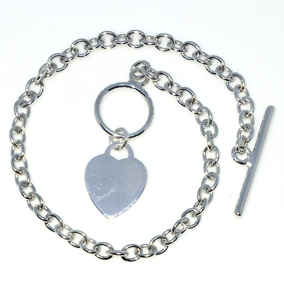 New White Gold Layered 925 Solid Sterling Silver 7 inch Heart and Round rolo chain baby Bracelet with Toggle clasp
