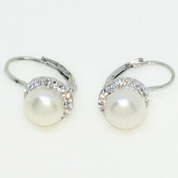 14k White Gold Layered with Dangle Drop Pearl on 925 Solid Sterling Silver Earrings ( 9 . 6 mm )