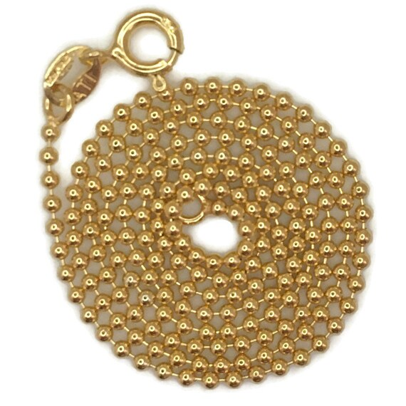 Yellow gold layer on silver necklace smooth beads chain 16 inch