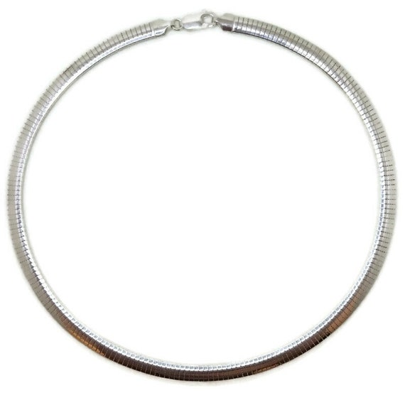 Brand New Anti-Tarnish 925 Sterling Silver Necklace 16 inch Thick One-sided Omega Chain with Lobsterclaw Clasp ( 5 . 3 mm  )