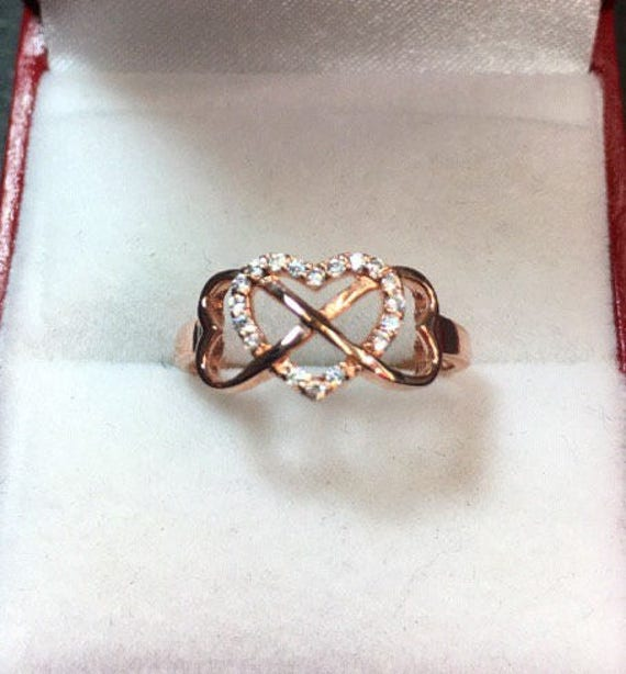 New 0.10 ct CZ 14k Rose Gold On Silver Infinity Heart Love Thin Ring size 8