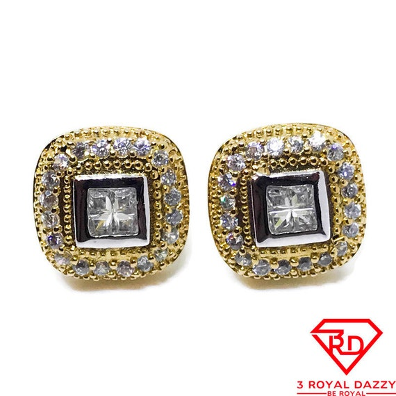 18K Yellow Gold on Sterling Silver Earrings