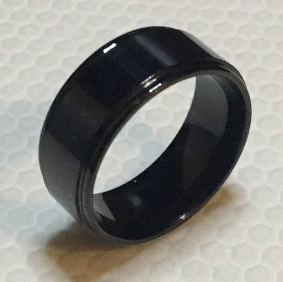 8mm size 7, 8, 10, 11 New Gothic Black Plated Dented Edge on Stainless Steel ring band