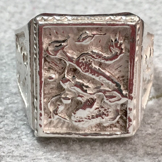 New Handcrafted Anti Tarnished 925 Sterling Silver Men's Zodiac Dragon Ring S7