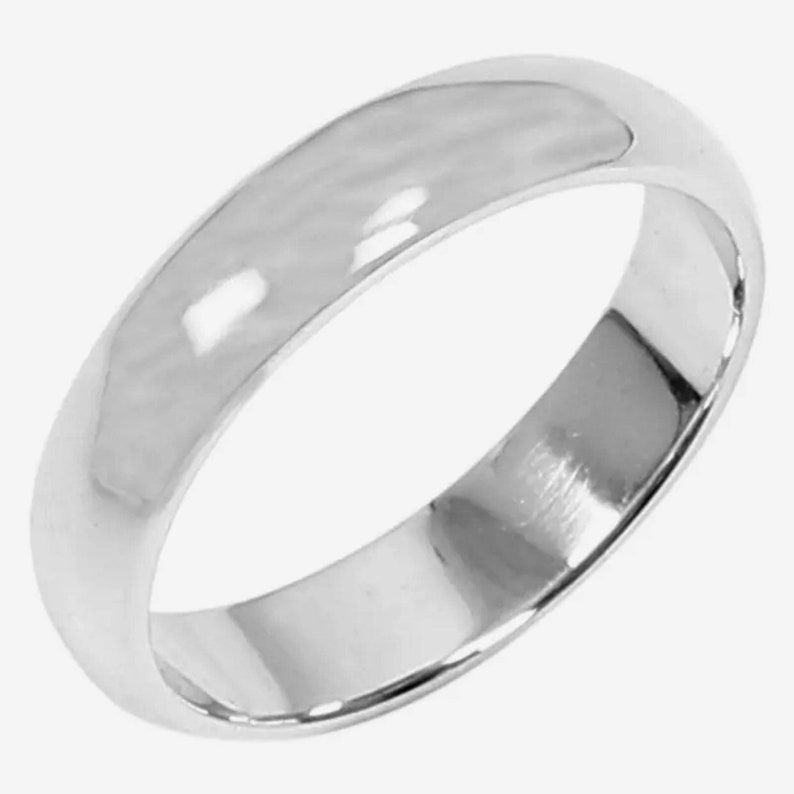 Handmade solid 990 Silver high polished glossy plain wedding Ring Band 5 6mm Size 15