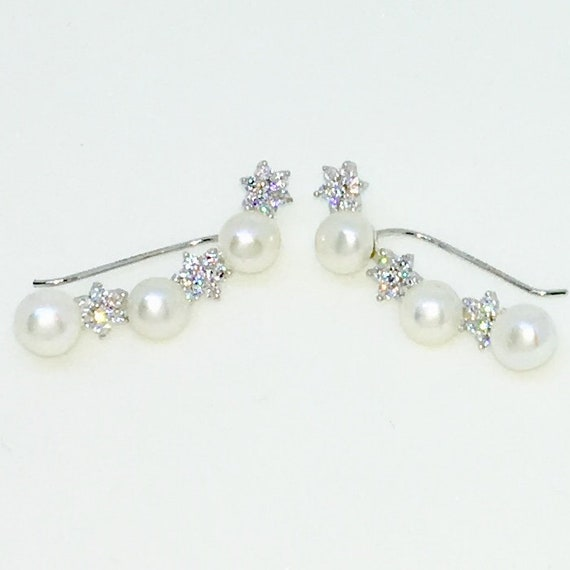 14k White Gold Layered with CZ and Pearl on String on 925 Solid Sterling Silver Dangle Drop Earrings ( 28 . 3 mm Height )
