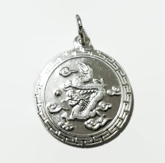Chinese Zodiac Horoscope 999 fine Silver Round Year of Dragon Pendant charm