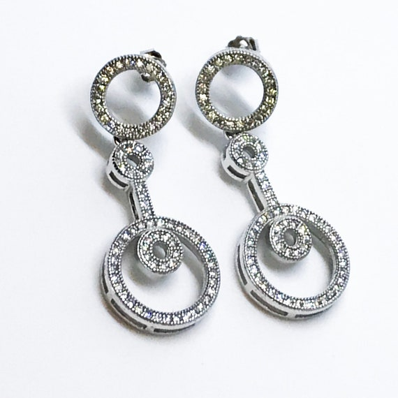 14K White Gold on Sterling Silver Connected Dangling Circles Earrings