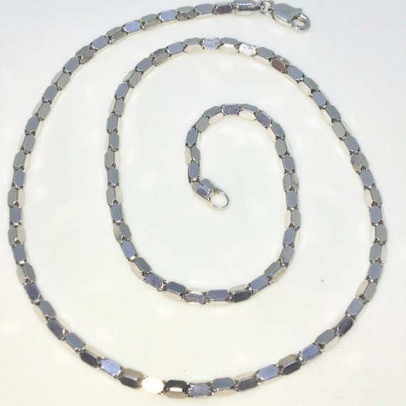 Brand New White Gold on 925 Solid Sterling Silver 16 inch Small Uneven Box Chain Necklace with Lobster Claw Clasp