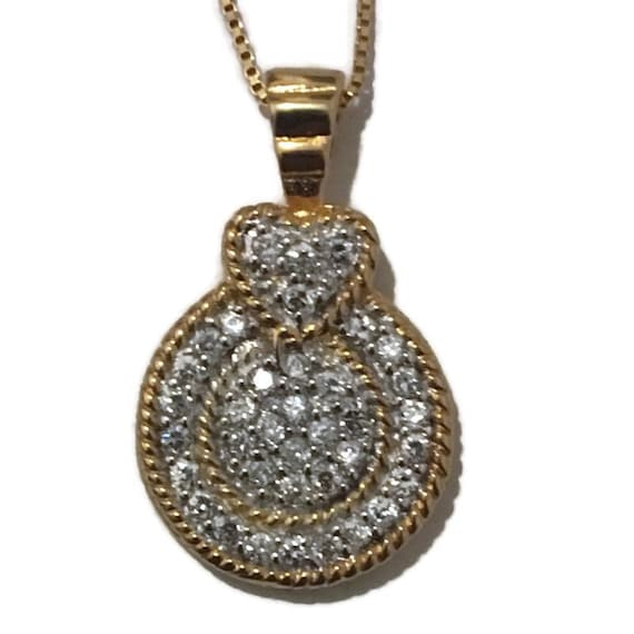 Brand New Yellow Gold on 925 Sterling Silver Pendant circle and heart with white round CZ with free chain ( 15 . 4 mm )