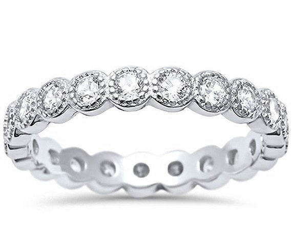 14k w Gold layer on Silver Wedding 0.75ct CZ Stackable Eternity Ring Band Size 8