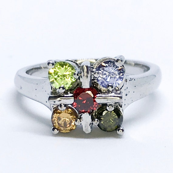 NEW 14K White Gold Layered on Sterling Silver Flower with Purple Orange Olive-Green and Lime-Green Ring