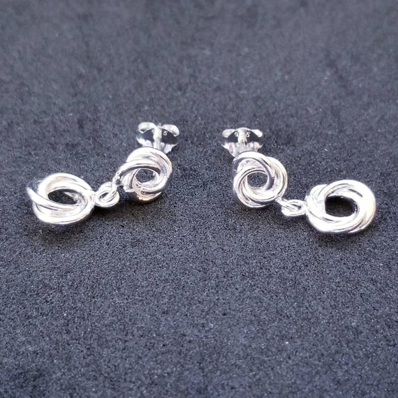 New 14K White Gold on 925 Sterling Silver Dangling Circle Knot Earrings
