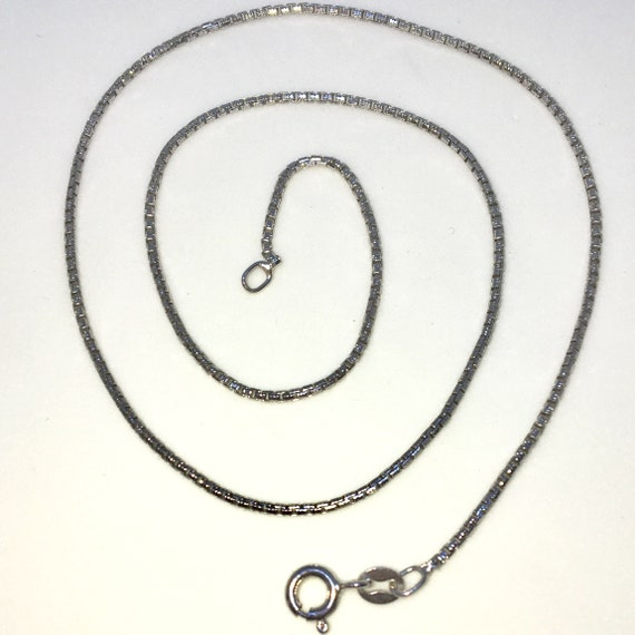 Brand New White Gold on 925 Solid Sterling Silver 16 inch Plain Smooth Round box Chain Necklace with Lobster Claw Clasp