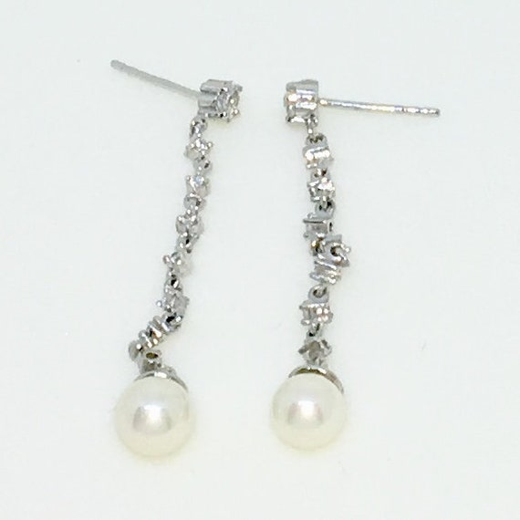 14k White Gold Layered with CZ and Pearl on Chain on 925 Solid Sterling Silver Dangle Drop Earrings ( 44 . 6 mm Height )