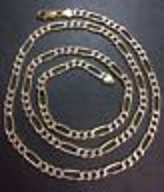 New hollow two tone 14k layer on silver italian  figaro chain necklace 4.5mm-26""