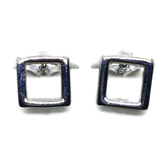 White gold on Silver Stud Earrings Hollow square
