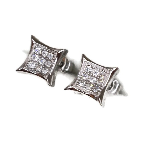 Brand New white gold on 925 Silver Studs Earrings Small pointy Square with white round CZ ( 7 . 3 mm )