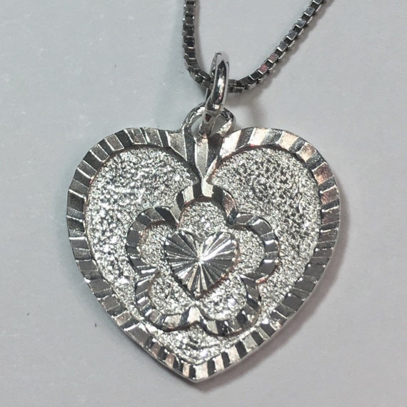 New Handcrafted 925 Sterling Silver Double Heart Charm Pendant