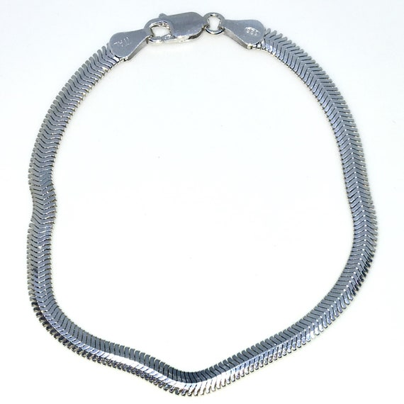 New White Gold Layered 925 Solid Sterling Silver 7 inch Flat Snake Chain baby Bracelet with Lobsterclaw clasp