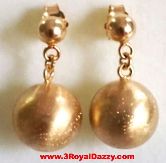 14k gold on 925 Sterling Silver Round Dangling Ball on Ball Stud Earrings 12 MM
