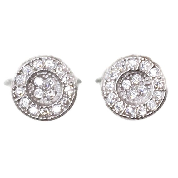 Brand New white gold on 925 Silver Studs Earrings small Dent-in center Circle with white round CZ ( 6 . 7 mm )