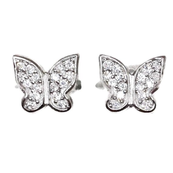 Brand New white gold on 925 Silver Studs Earrings Small Butterfly with white round CZ ( 8 . 2 mm )