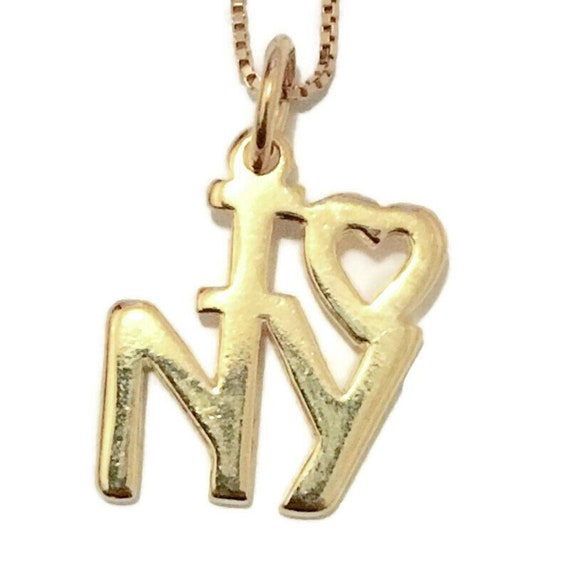 Brand New Yellow Gold on 925 Sterling Silver Pendant Small I Love NY with free chain ( 13 . 8 mm )