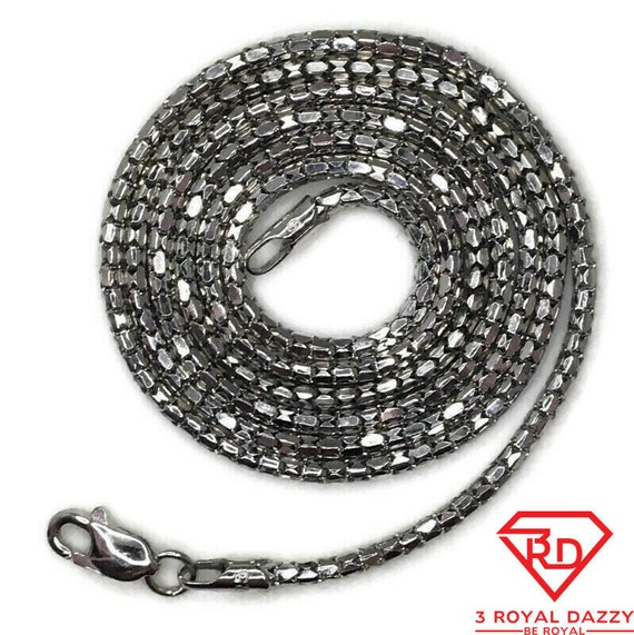 Brand New White Gold on 925 Sterling Silver Necklace 18 inch Artistic Semi-Snake chain with Lobsterclaw Clasp ( 1 . 4 mm )