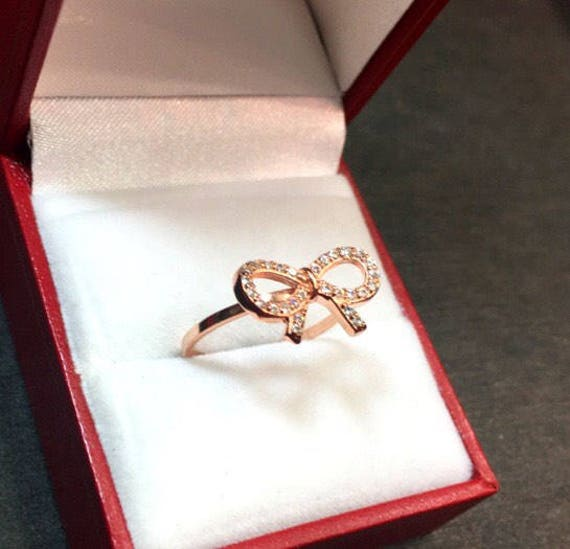 New 0.25 ct Cubic Zirconia 14k Rose gold Layer On 925 Silver Bow Tie Ribbon Ring size-6