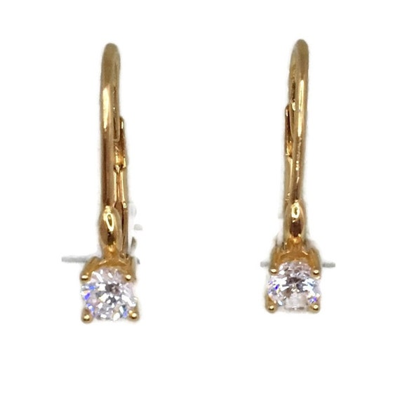 Brand New Yellow gold on 925 Silver dangle drop Earrings small round white CZ ( 4 . 0 mm )