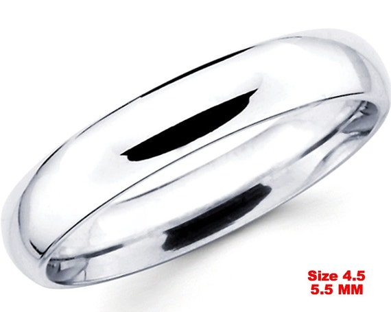 Italy Anti tarnish .925 silver high polished glossy plain wedding band ring 5.5mm Size 4.5