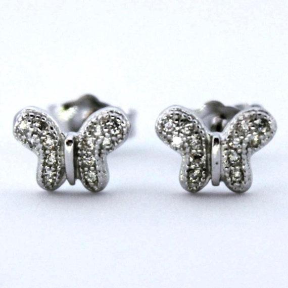 14K White Gold on Silver Butterfly Stud Earrings