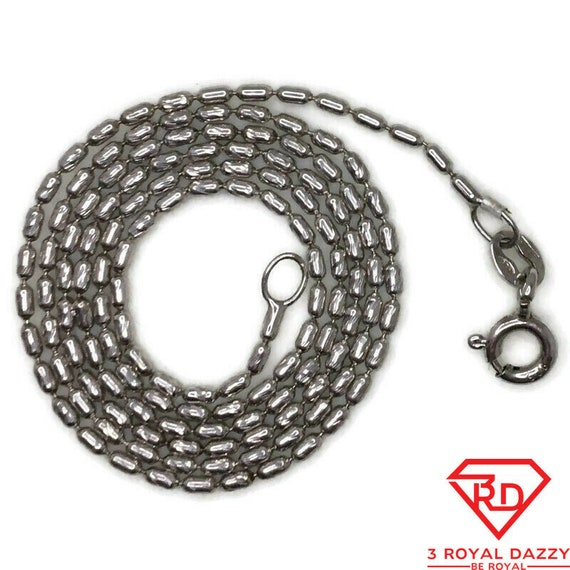 Brand New White Gold on 925 Sterling Silver Necklace 16 inch Long Beads chain with Spring Ring Clasp ( 1 . 1 mm )