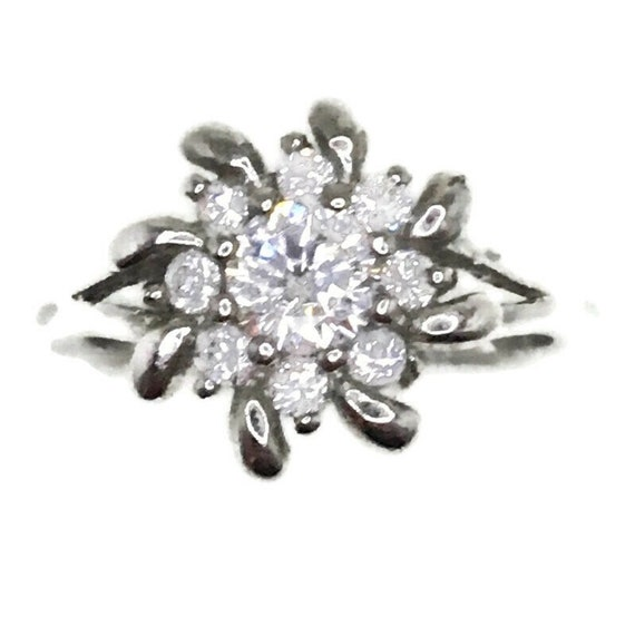 Brand New White Gold on 925 Sterling Silver Ring band Spiral Flower with Round white CZ ( size 6 )