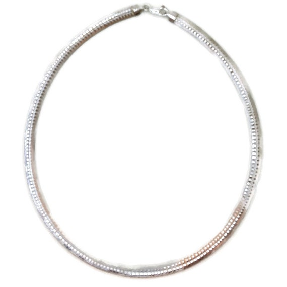 Brand New White Gold on 925 Sterling Silver Necklace 18 inch Omega Reversible diamond cut Chain with Lobsterclaw Clasp ( 6 . 2 mm  )
