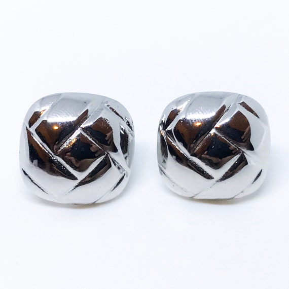 Round square Sterling silver earrings